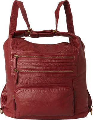 Ampere Creations The Lisa Convertible Backpack Burgundy - Ampere Creations Manmade Handbags