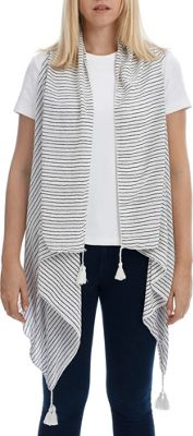 Lava Accessories Pinstripe Tassel Scarfvest One Size  - White - Lava Accessories Women's Apparel