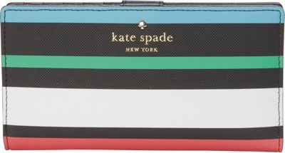 kate spade new york Harding Street Fiesta Stripe Stacy Wallet Black Multi - kate spade new york Women's SLG Other