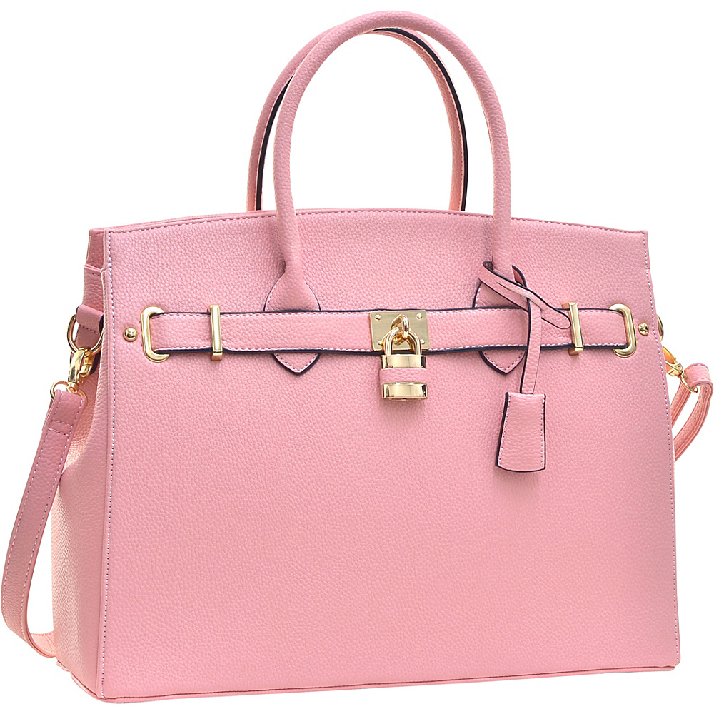 Dasein Faux Leather Work Satchel with Padlock Pink - Dasein Manmade Handbags - Handbags, Manmade Handbags
