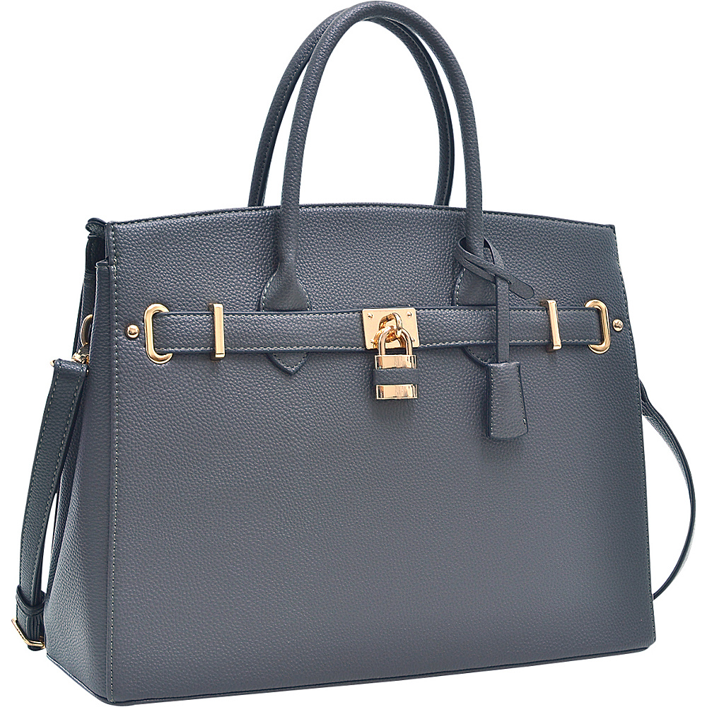 Dasein Faux Leather Work Satchel with Padlock Grey - Dasein Manmade Handbags - Handbags, Manmade Handbags