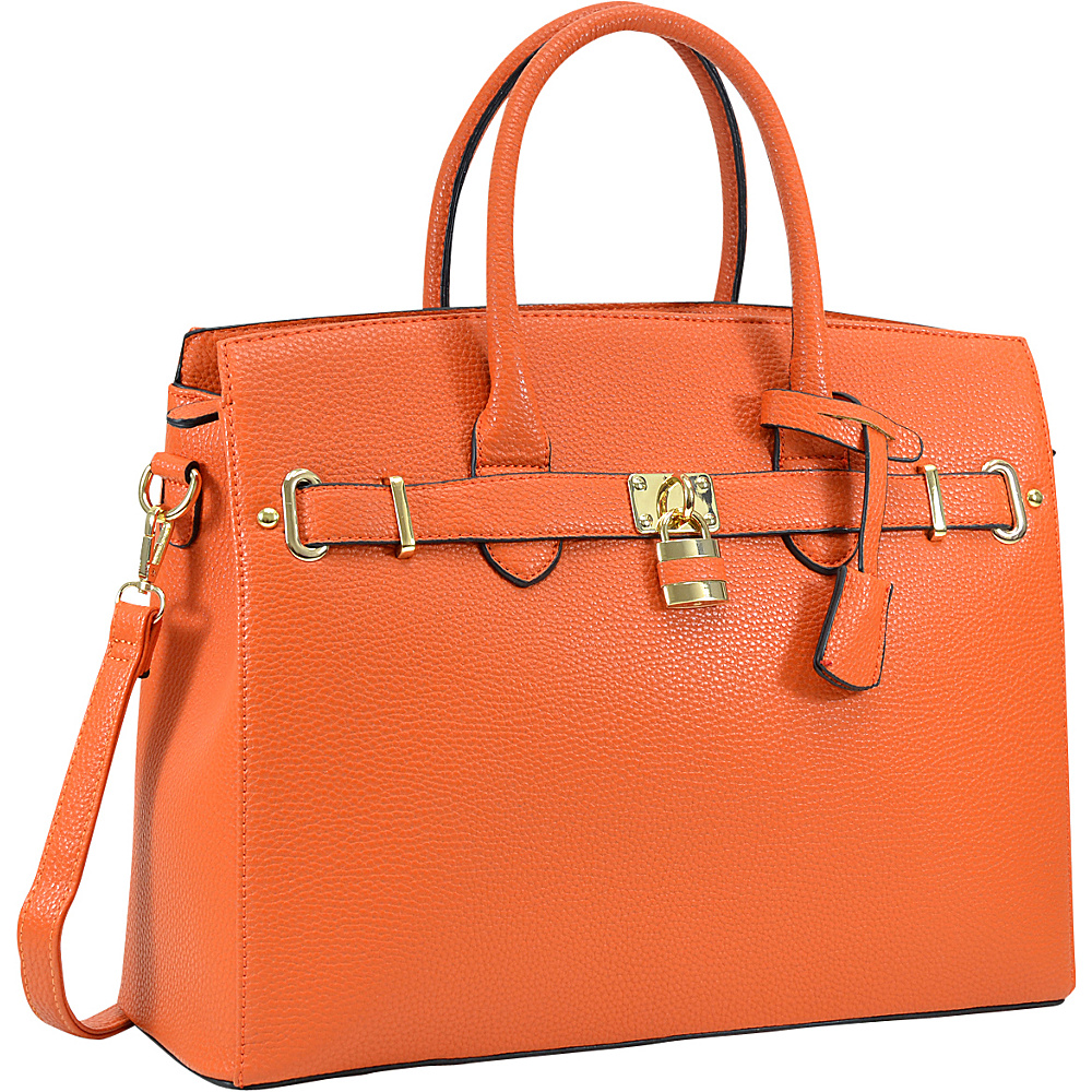 Dasein Faux Leather Work Satchel with Padlock Orange - Dasein Manmade Handbags - Handbags, Manmade Handbags