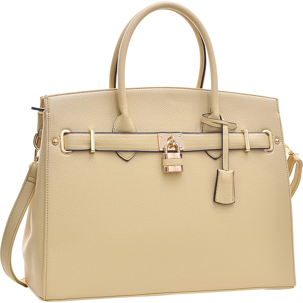 Dasein Faux Leather Work Satchel with Padlock Beige - Dasein Manmade Handbags - Handbags, Manmade Handbags
