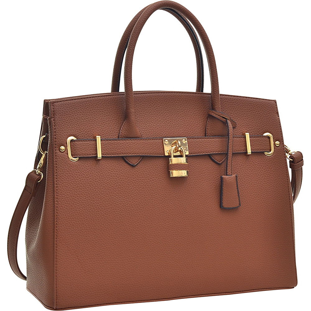 Dasein Faux Leather Work Satchel with Padlock Brown - Dasein Manmade Handbags - Handbags, Manmade Handbags