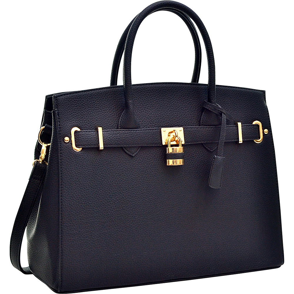 Dasein Faux Leather Work Satchel with Padlock Black - Dasein Manmade Handbags - Handbags, Manmade Handbags
