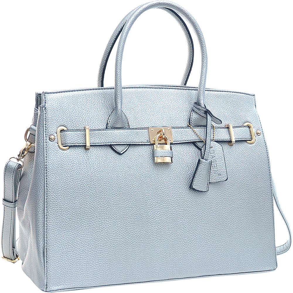 Dasein Faux Leather Work Satchel with Padlock Pewter - Dasein Manmade Handbags - Handbags, Manmade Handbags