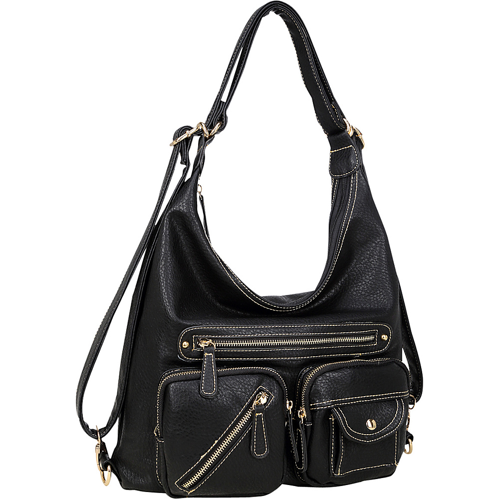 Dasein Soft Faux Leather Shoulder Bag and Backpack Black - Dasein Gym Bags - Sports, Gym Bags
