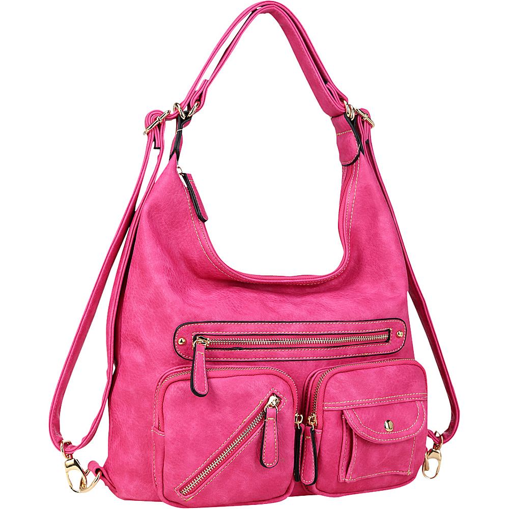 Dasein Soft Faux Leather Shoulder Bag and Backpack Fuchsia - Dasein Gym Bags - Sports, Gym Bags