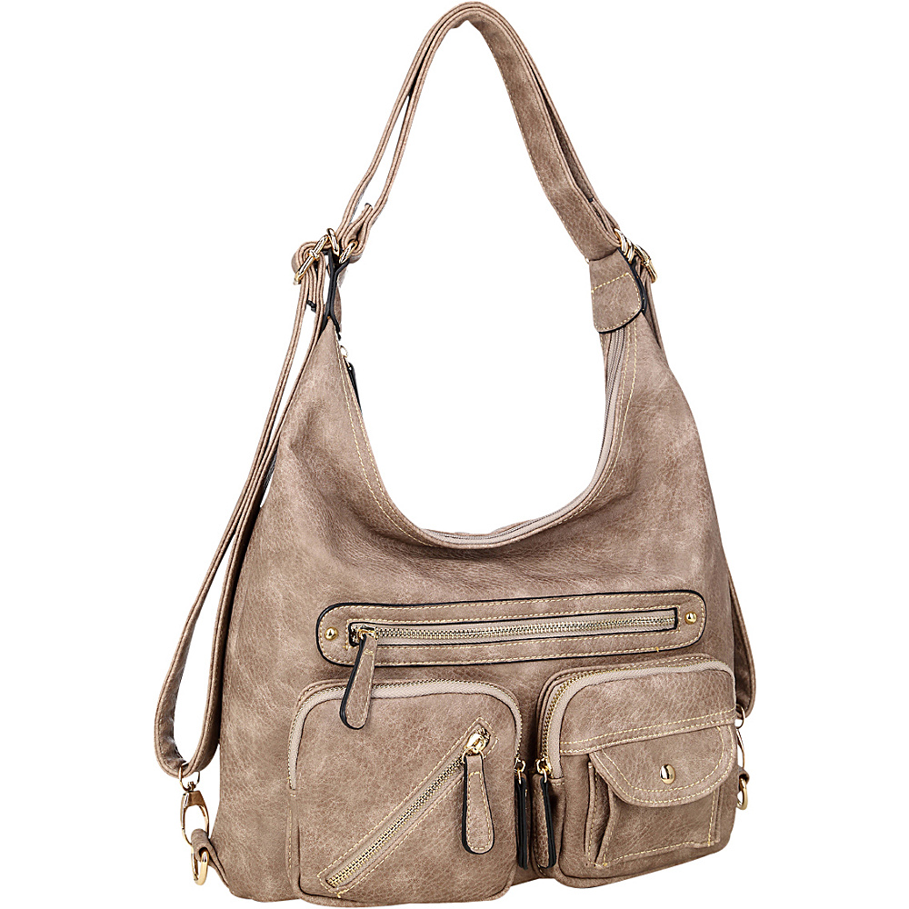 Dasein Soft Faux Leather Shoulder Bag and Backpack Stone - Dasein Gym Bags - Sports, Gym Bags