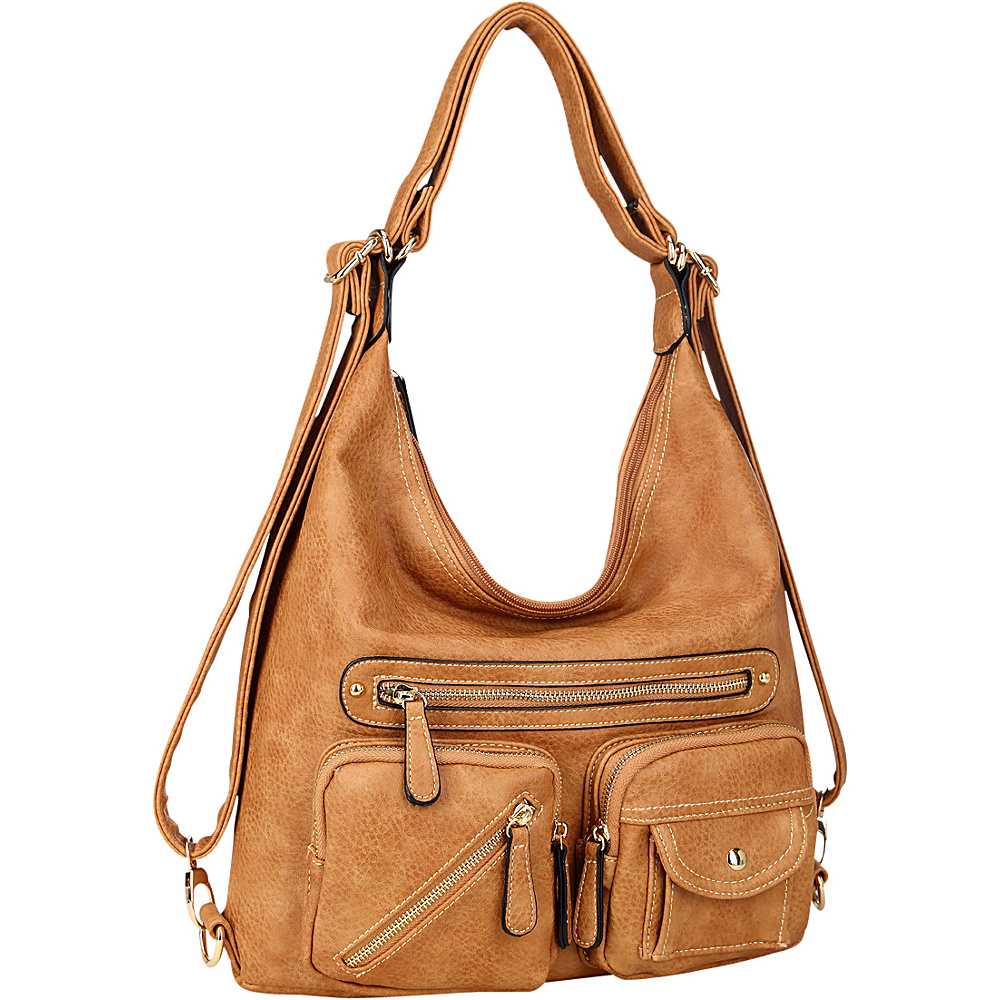 Dasein Soft Faux Leather Shoulder Bag and Backpack Brown - Dasein Gym Bags - Sports, Gym Bags