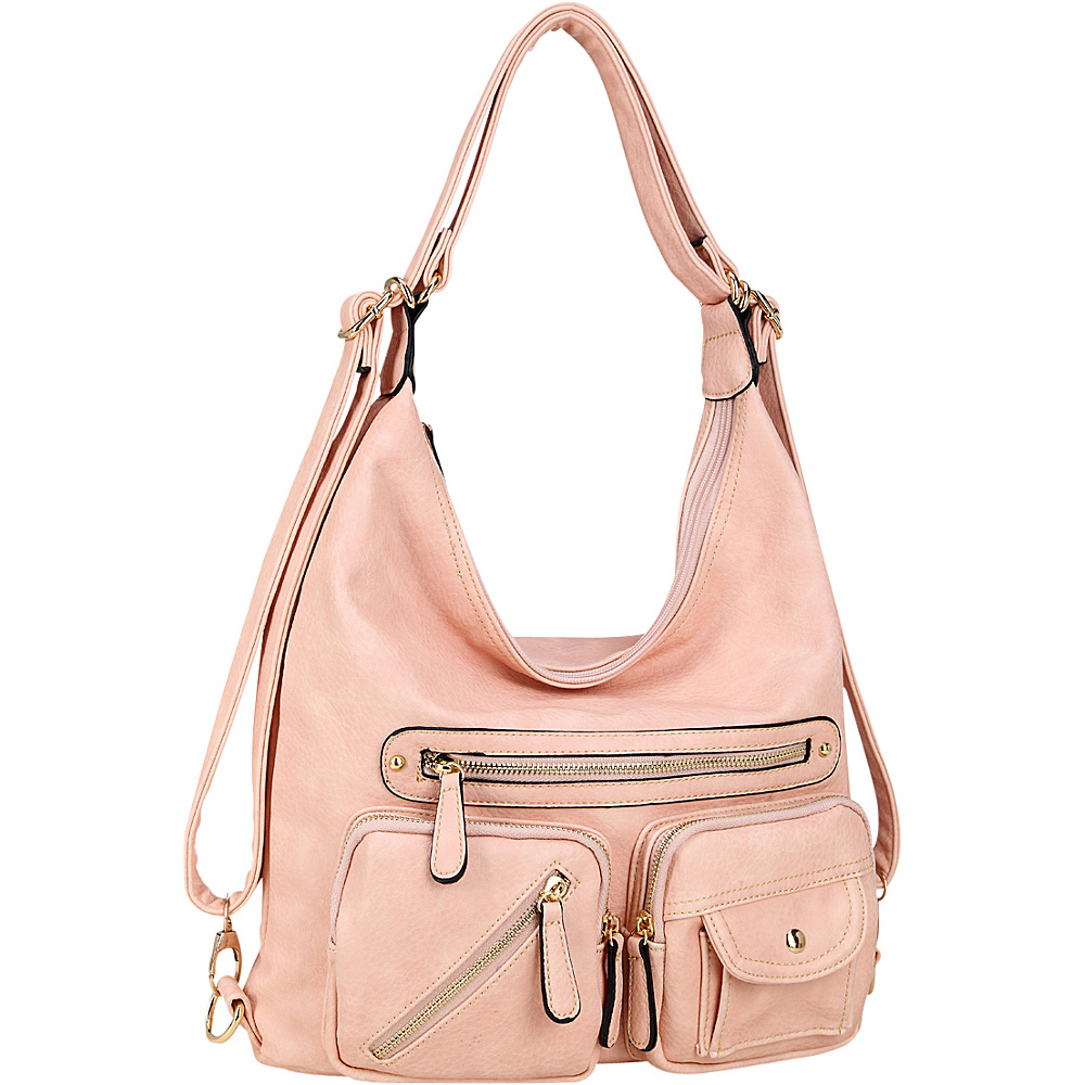 Dasein Soft Faux Leather Shoulder Bag and Backpack Pink - Dasein Gym Bags - Sports, Gym Bags