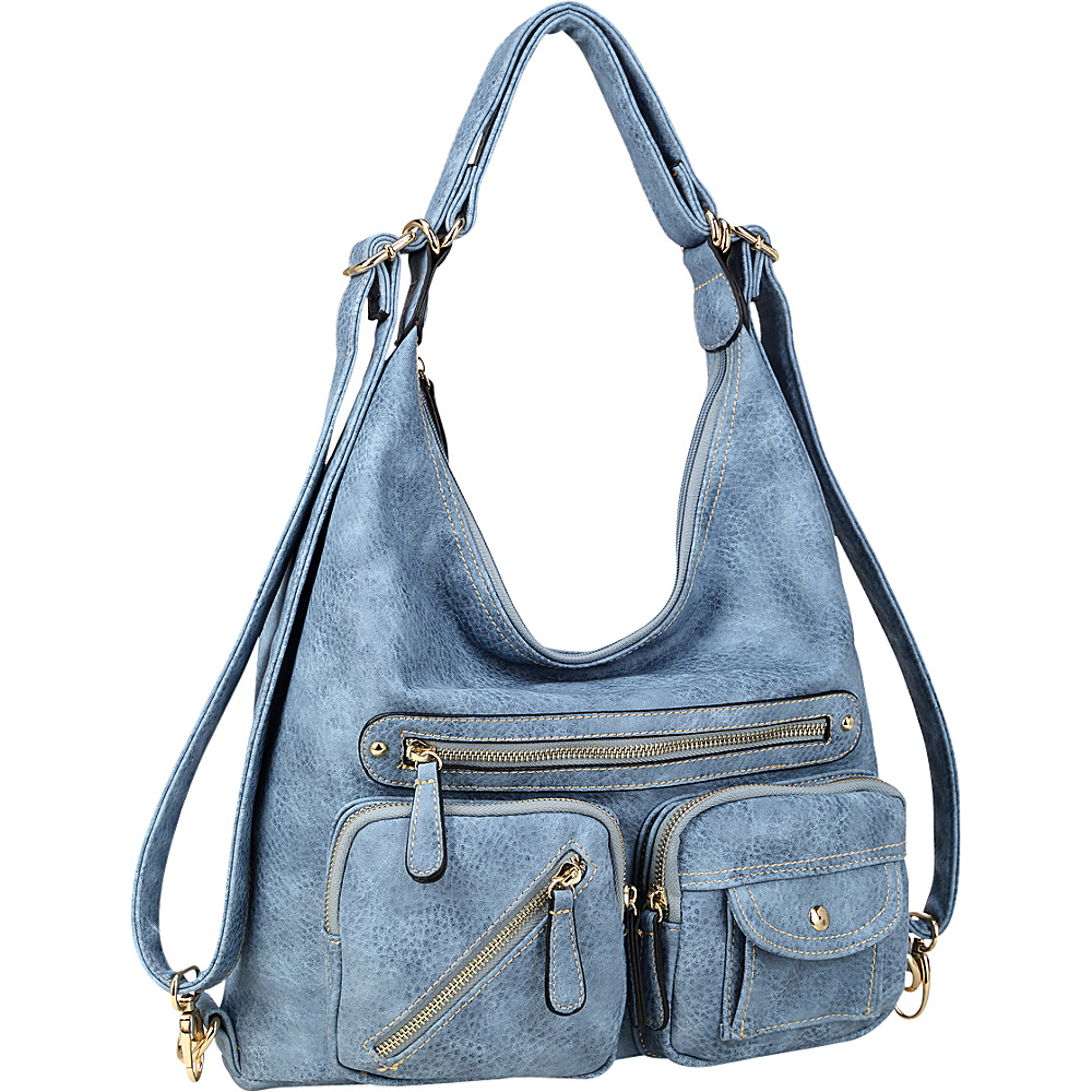 Dasein Soft Faux Leather Shoulder Bag and Backpack Blue - Dasein Gym Bags - Sports, Gym Bags