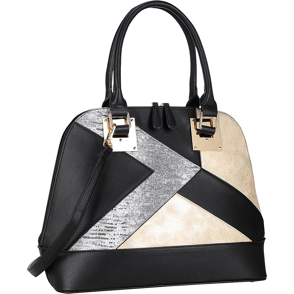 Dasein Round Leather Satchel with Semi Metallic Patch Design Black - Dasein Manmade Handbags - Handbags, Manmade Handbags