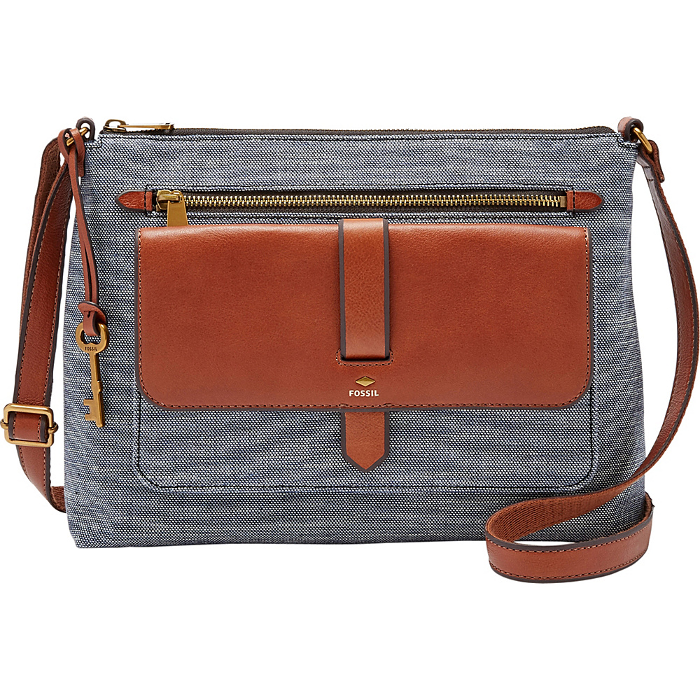 Fossil Kinley Crossbody Chambray - Fossil Fabric Handbags - Handbags, Fabric Handbags