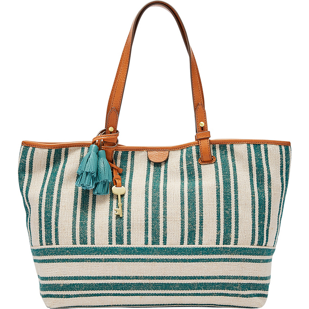 Fossil Rachel Tote Teal Green - Fossil Fabric Handbags - Handbags, Fabric Handbags
