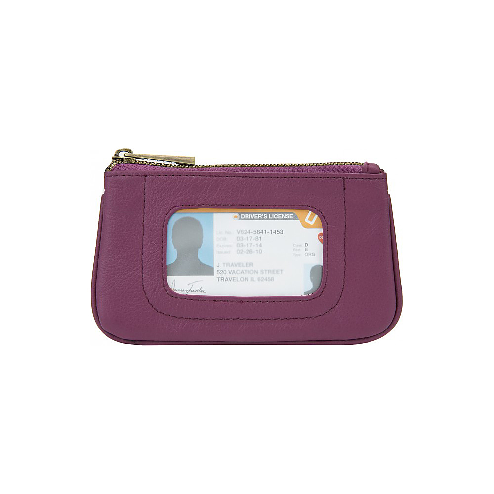 Travelon RFID Blocking Leather ID Pouch Berry/Floral Interior - Travelon Womens Wallets - Women's SLG, Women's Wallets