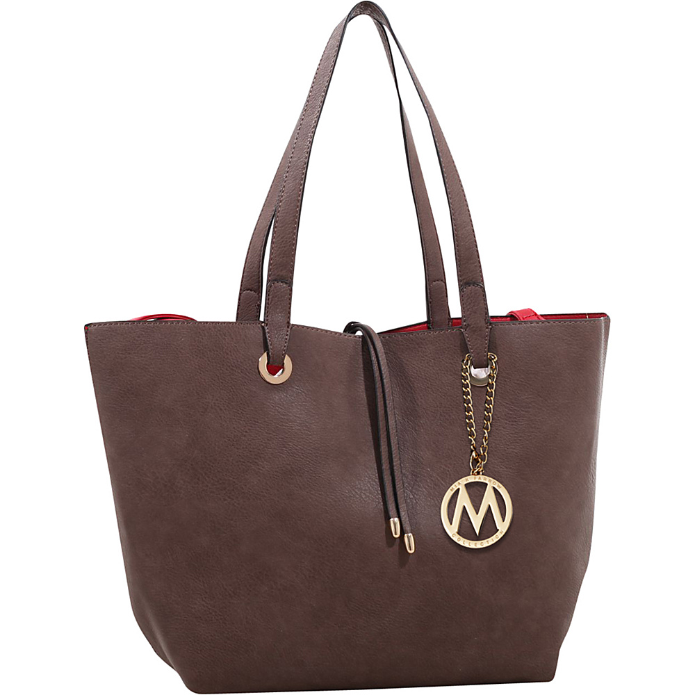 MKF Collection Kent Tote with Inside Contrast Colored Pouch Coffee - MKF Collection Manmade Handbags - Handbags, Manmade Handbags