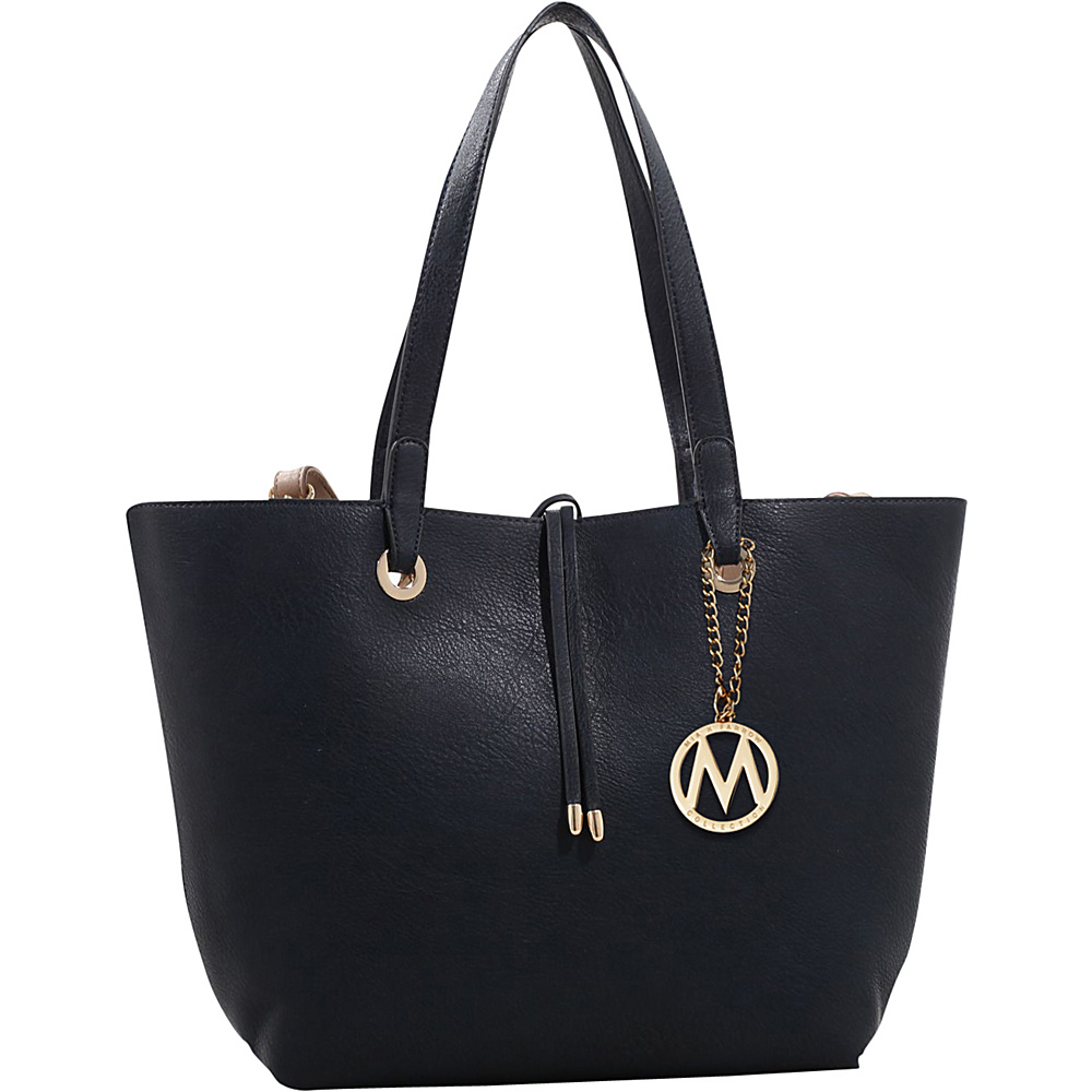 MKF Collection by Mia K. Farrow Kent Tote with Inside Contrast Colored Pouch Dark Blue - MKF Collection by Mia K. Farrow Manmade Handbags - Handbags, Manmade Handbags