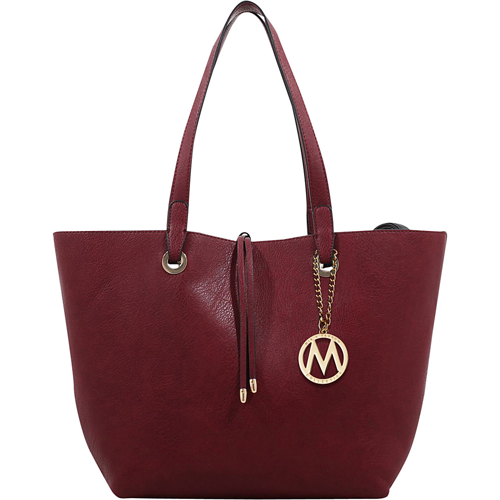 MKF Collection Kent Tote with Inside Contrast Colored Pouch Wine - MKF Collection Manmade Handbags - Handbags, Manmade Handbags