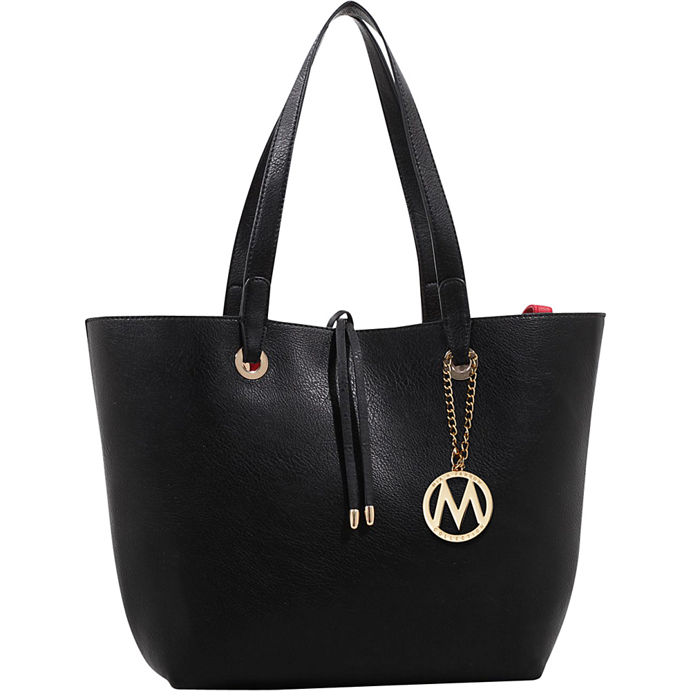 MKF Collection by Mia K. Farrow Kent Tote with Inside Contrast Colored Pouch Black - MKF Collection by Mia K. Farrow Manmade Handbags - Handbags, Manmade Handbags
