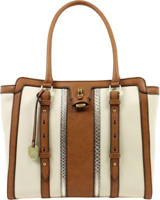London Fog Handbags Lancaster Tote Ivory Stripe - London Fog Handbags Manmade Handbags