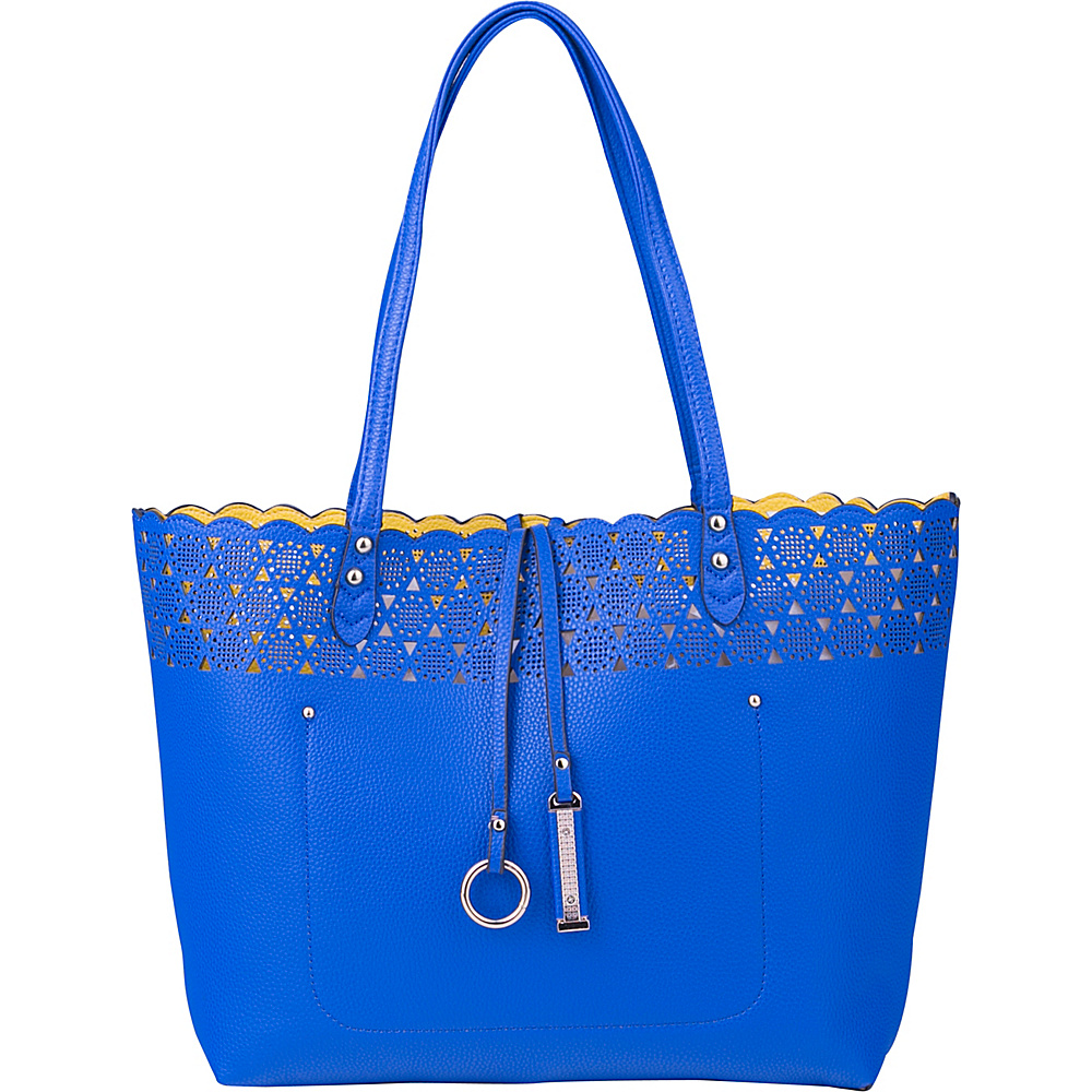 MKF Collection by Mia K. Farrow Aliah Reversible Shoppers Tote with Removable Pouch Royal Blue/Yellow - MKF Collection by Mia K. Farrow Manmade Handbags - Handbags, Manmade Handbags