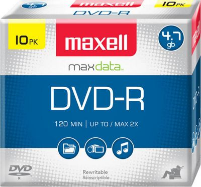 Maxell 4.7GB 16X DVD-R 10 Pack Clear - Maxell Electronic Accessories