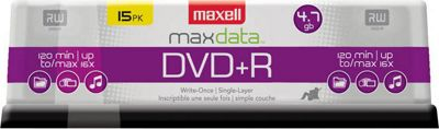 Maxell DVD+R 4.7GB, 16x, Write-Once Recordable Disc