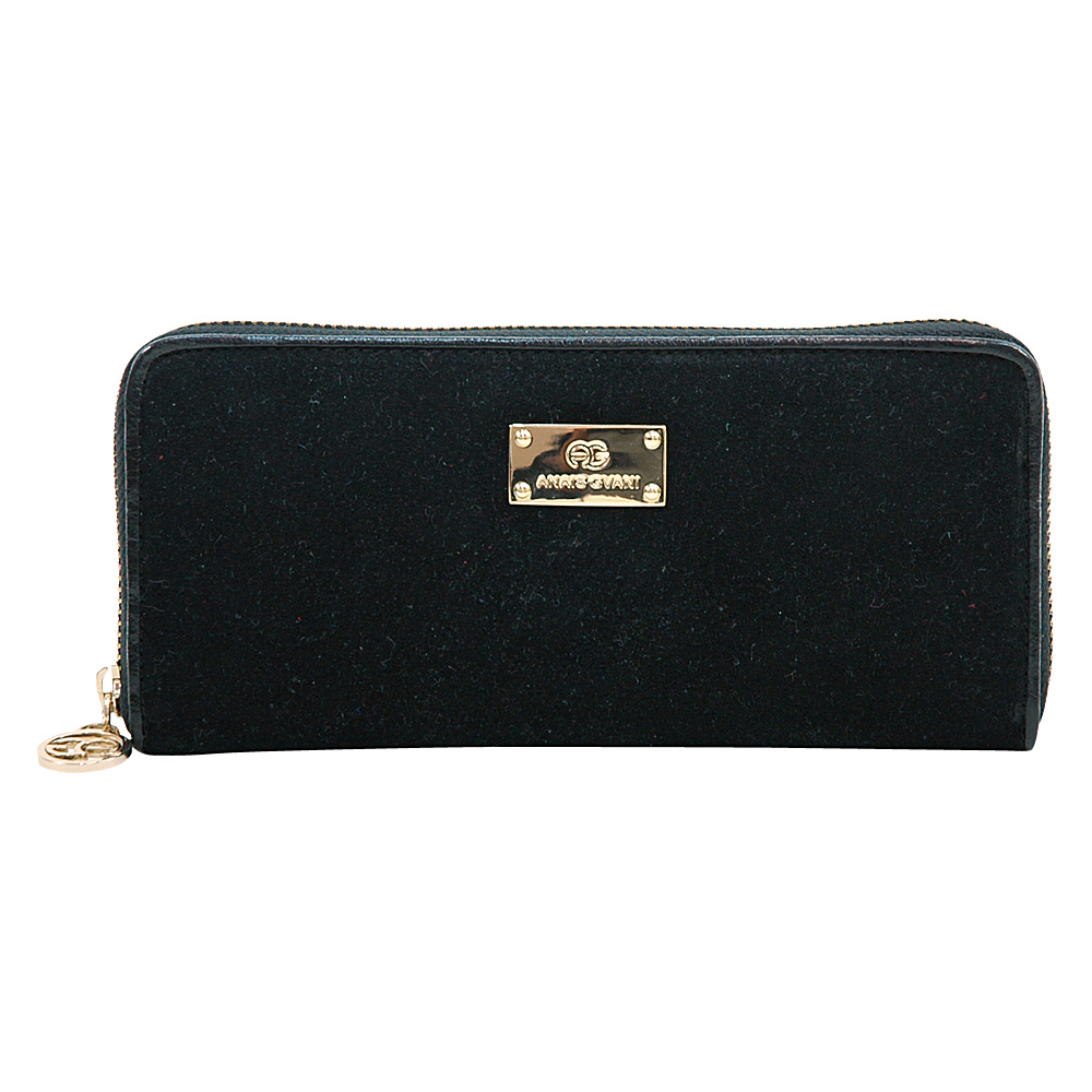 Dasein Womens Zip-Around Wallet with Gold Kissed Accents Black - Dasein Womens Wallets - Women's SLG, Women's Wallets