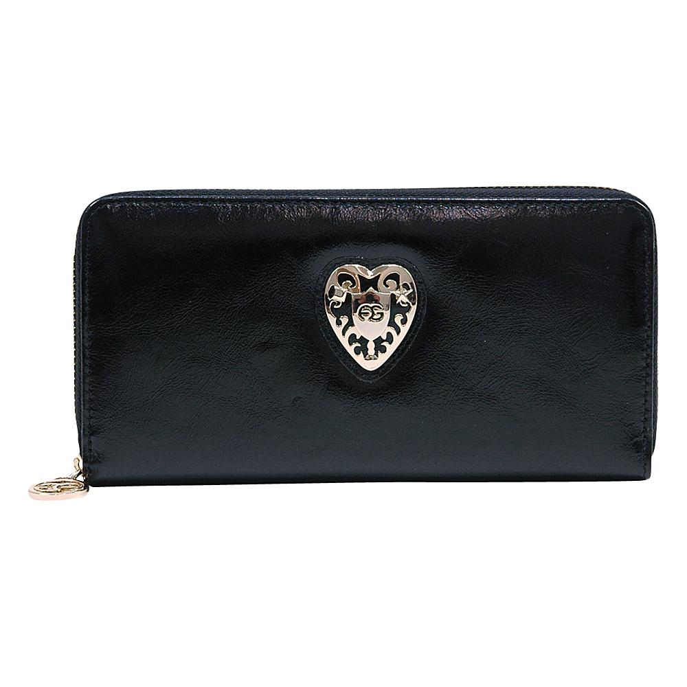 Dasein Womens Zip-Around Wallet with Gold Kissed Heart Accent Black - Dasein Womens Wallets - Women's SLG, Women's Wallets