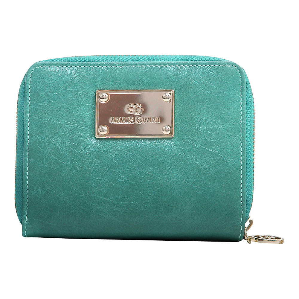 Dasein Womens Color Block Zip-Around Wallet Light Green/Blue - Dasein Womens Wallets - Women's SLG, Women's Wallets