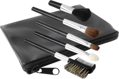 Glamour Status 6 Piece Travel Size Cosmetic Brush Set Black - Glamour Status Travel Comfort and Health