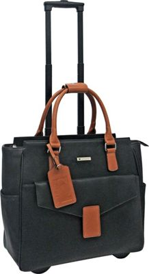 Cabrelli Courtney Rolling Briefcase Black/Cognac - Cabrelli Wheeled Business Cases