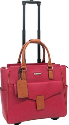 Cabrelli Cabrelli Courtney Rolling Briefcase Red/Cognac - Cabrelli Wheeled Business Cases