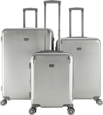 Gabbiano Genova 3 Piece Expandable Hardside Spinner Luggage Set Silver - Gabbiano Luggage Sets