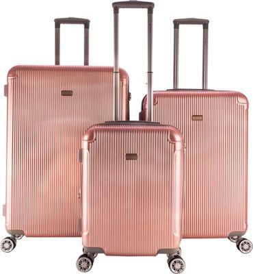 Gabbiano Genova 3 Piece Expandable Hardside Spinner Luggage Set Rose Gold - Gabbiano Luggage Sets