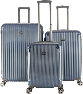 Gabbiano Genova 3 Piece Expandable Hardside Spinner Luggage Set Iron Blue - Gabbiano Luggage Sets