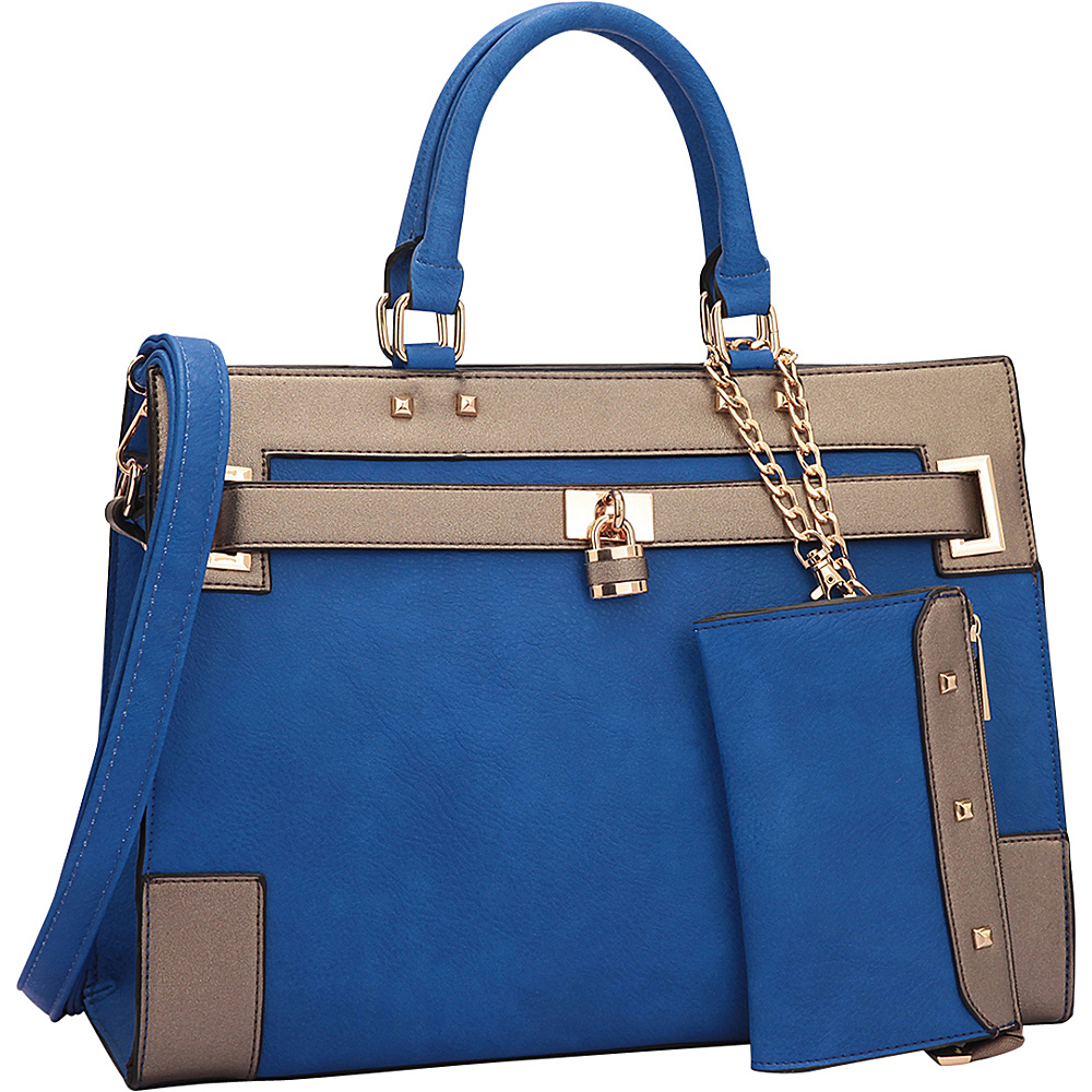 Dasein Two Tone Padlock & Key Satchel with Shoulder Strap Royal Blue/Pewter - Dasein Manmade Handbags - Handbags, Manmade Handbags