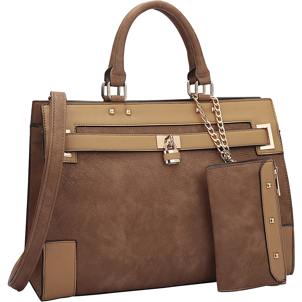 Dasein Two Tone Padlock & Key Satchel with Shoulder Strap Brown/Tan - Dasein Manmade Handbags - Handbags, Manmade Handbags