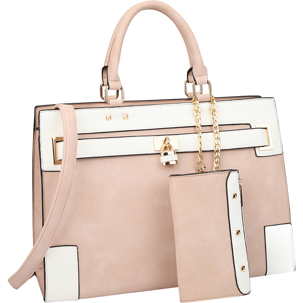 Dasein Two Tone Padlock & Key Satchel with Shoulder Strap Pink/White - Dasein Manmade Handbags - Handbags, Manmade Handbags