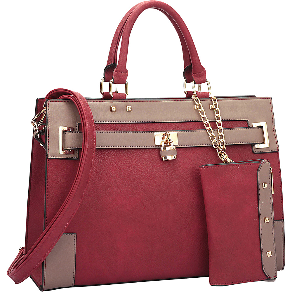 Dasein Two Tone Padlock & Key Satchel with Shoulder Strap Red/Taupe - Dasein Manmade Handbags - Handbags, Manmade Handbags