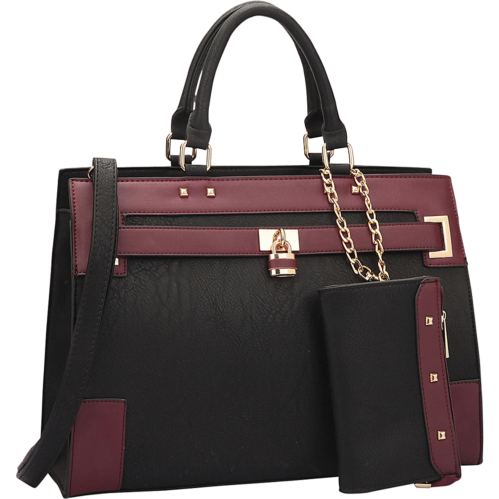 Dasein Two Tone Padlock & Key Satchel with Shoulder Strap Black/Wine - Dasein Manmade Handbags - Handbags, Manmade Handbags