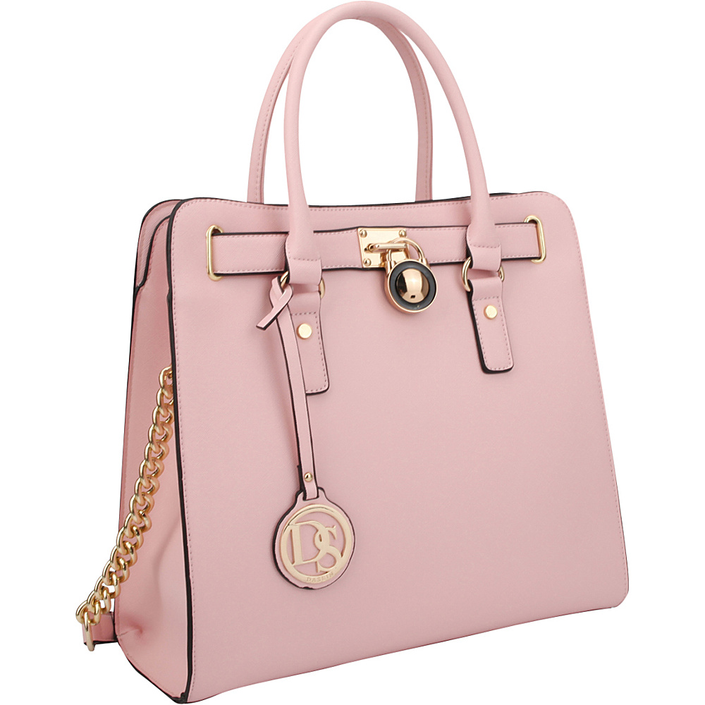 Dasein Large Saffiano Leather Tote with Chain Shoulder Strap Pink - Dasein Manmade Handbags - Handbags, Manmade Handbags