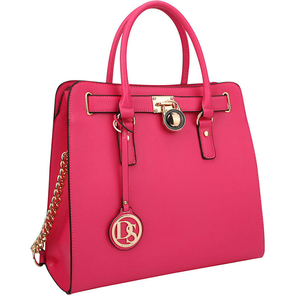 Dasein Large Tote with Chain Shoulder Strap Fuchsia - Dasein Manmade Handbags - Handbags, Manmade Handbags