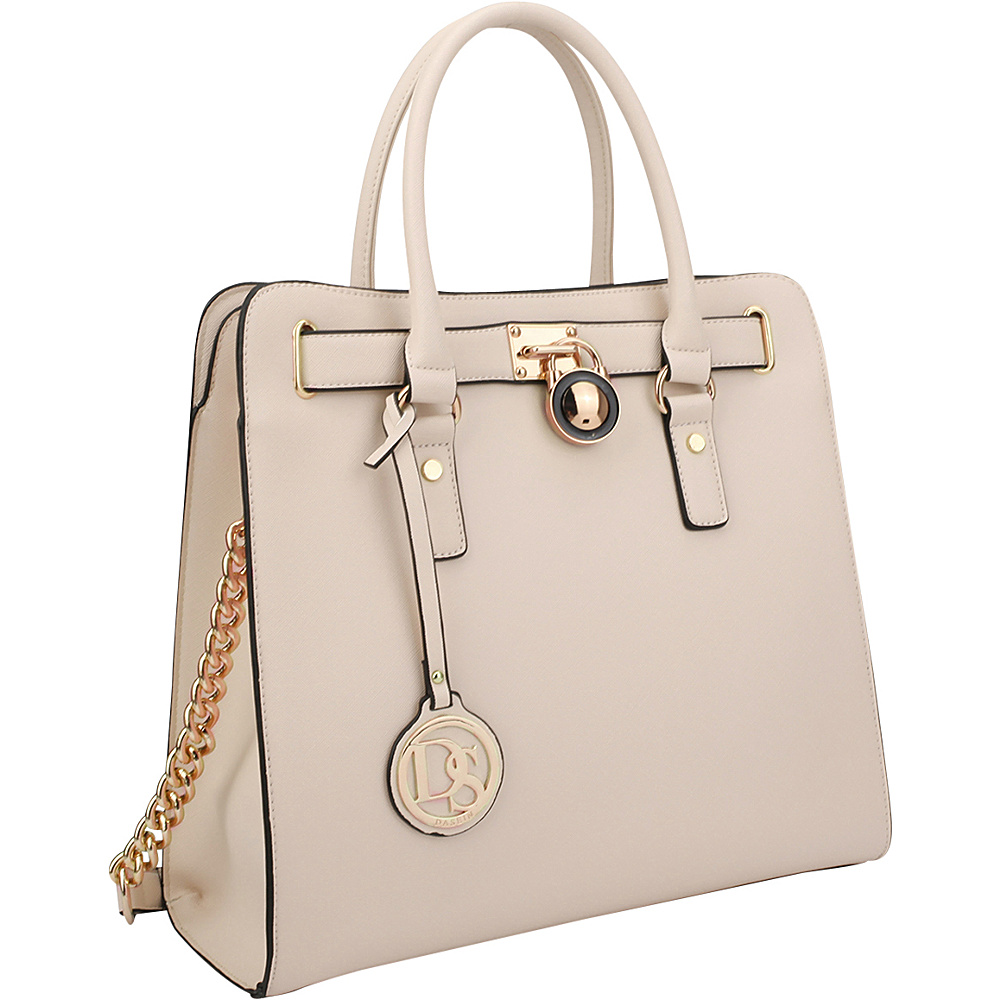 Dasein Large Tote with Chain Shoulder Strap Beige - Dasein Manmade Handbags - Handbags, Manmade Handbags