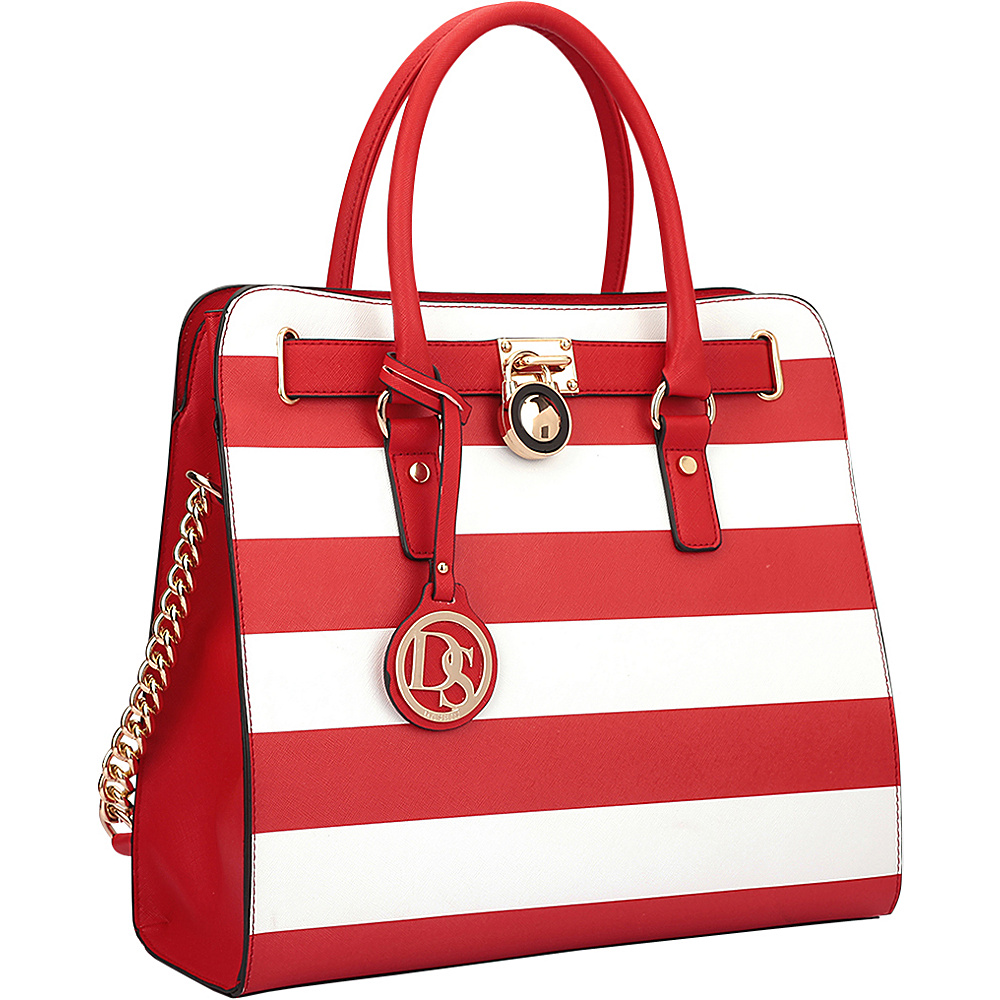Dasein Large Tote with Chain Shoulder Strap Red/White - Dasein Manmade Handbags - Handbags, Manmade Handbags
