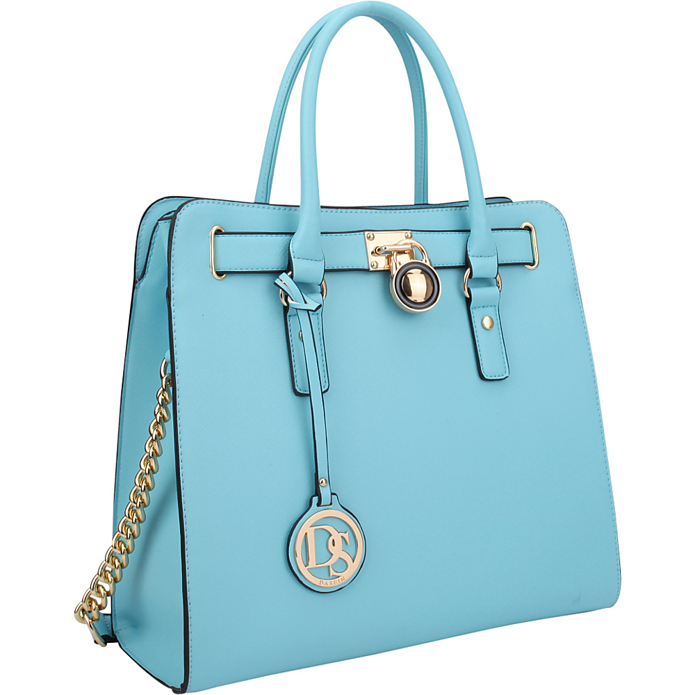 Dasein Large Tote with Chain Shoulder Strap Light Blue - Dasein Manmade Handbags - Handbags, Manmade Handbags