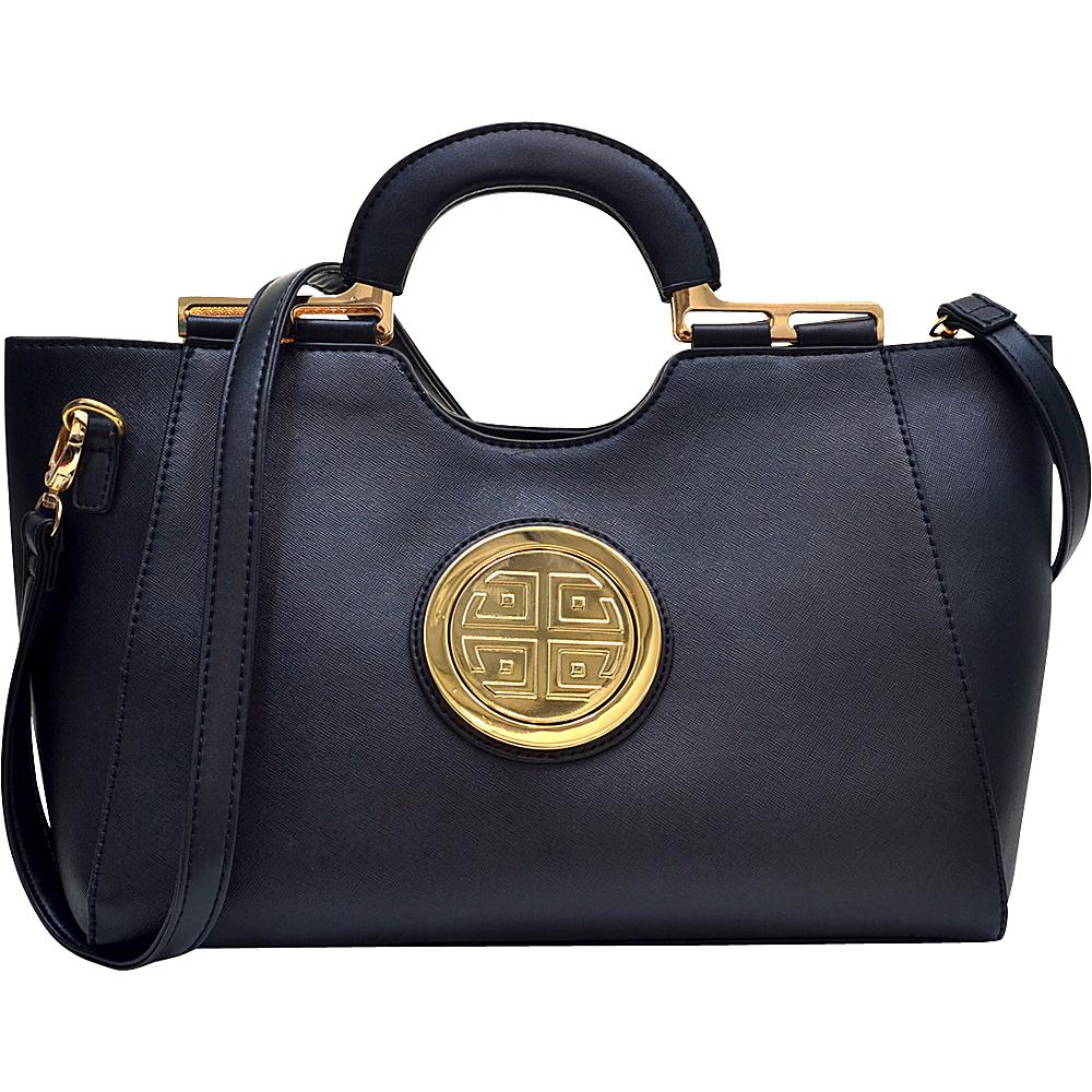 Dasein Loop Handle Satchel with Removable Shoulder Strap Black - Dasein Manmade Handbags - Handbags, Manmade Handbags