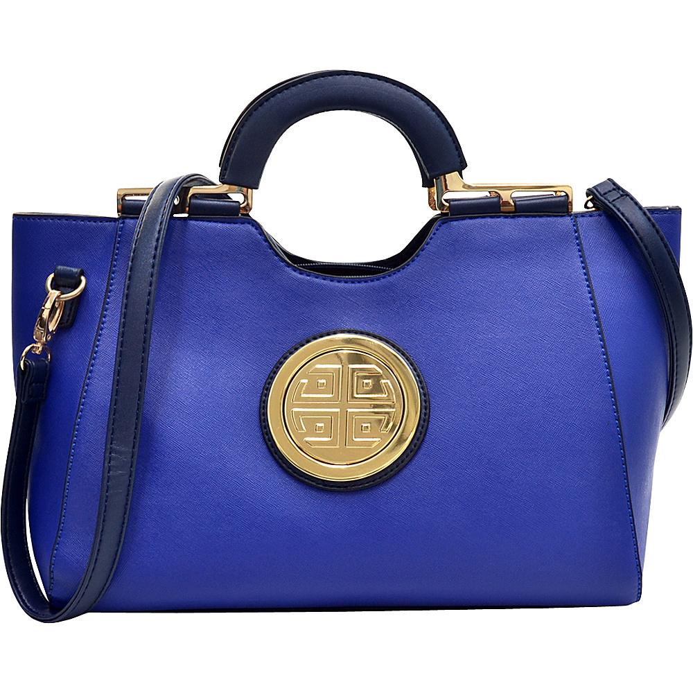 Dasein Loop Handle Satchel with Removable Shoulder Strap Royal Blue - Dasein Manmade Handbags - Handbags, Manmade Handbags