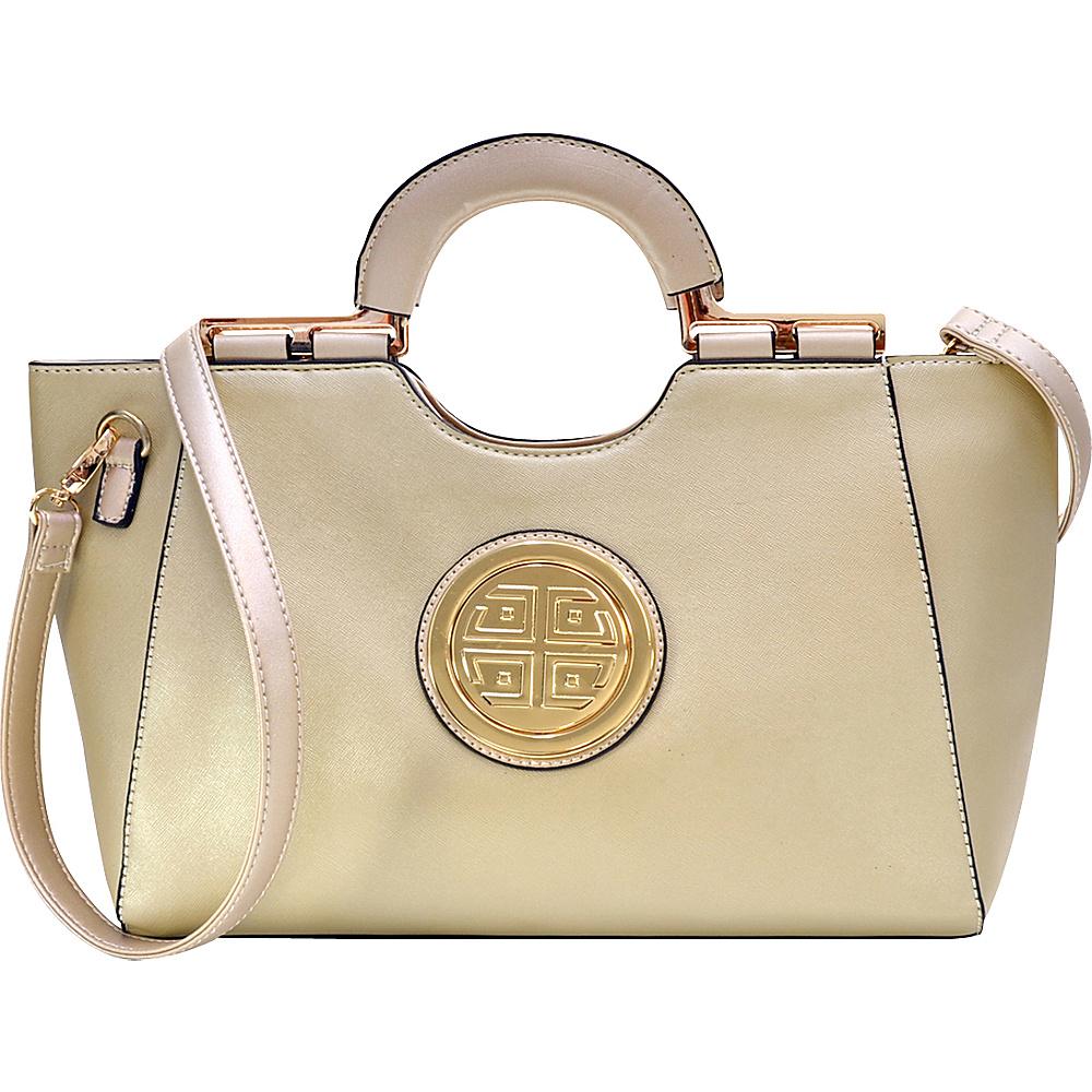 Dasein Loop Handle Satchel with Removable Shoulder Strap Gold - Dasein Manmade Handbags - Handbags, Manmade Handbags